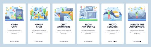 Free Messaging Website And Mobile App Onboarding Screens Vector Template Stock Photography - 183603932