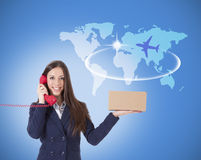 Messaging. Woman with package courier, messaging Royalty Free Stock Image