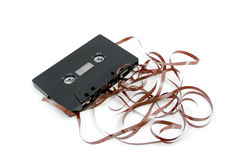 Messed up audio cassette tape Royalty Free Stock Images