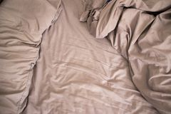Messed up bed sheets. royalty free stock photos