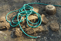 Messed Up Garden Hose Stock Image
