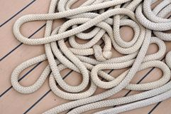 Messed up rope on a ship's deck Stock Photography