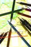 Messen-Hilfsmittel mit Bleistiftmakro Stockfoto