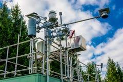 Messende Station für Luft-Qualität und Wetter Stockfotografie