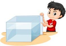 Messender Wasserbehälter des Jungen lizenzfreie abbildung