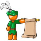 Messenger. An illustration of an orange man dressed like medieval messenger holding a scroll, isolated on a white background Royalty Free Stock Image