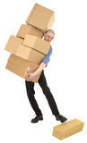 Messenger abd cardboard boxes Royalty Free Stock Photo
