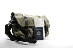 Messenger bag with passport. Messenger back with passport and map Stock Images