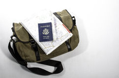 Messenger bag with passport. Messenger back with passport and map Royalty Free Stock Image