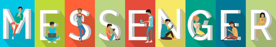 Messenger Banner in Flat. Messenger banner. People with gadgets standing and sitting near letters. Modern youth with electronic gadgets. Social media network Stock Image