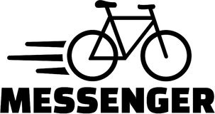 Messenger with bike icon. Vector Royalty Free Stock Image