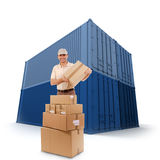 Messenger and blue cargo containers Royalty Free Stock Photo