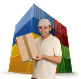 Messenger and cargo containers Royalty Free Stock Photo