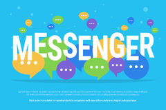 Messenger concept vector illustration of big letters with colour speech bubbles Stock Photography