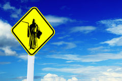 Messenger of death road sign. Road sign with Messenger of death , blue sky Royalty Free Stock Photography