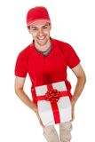 Messenger delivering a decorative gift Royalty Free Stock Photo