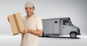 Messenger and delivery van Royalty Free Stock Photos