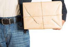 Messenger with a delivery Royalty Free Stock Photography