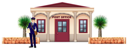 A messenger in front of the post office. Illustration of a messenger in front of the post office on a white background Royalty Free Stock Image