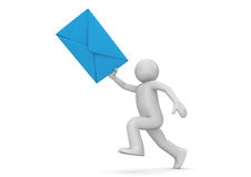 Messenger - human with blue envelope. 3d isolated on white background characters series Royalty Free Stock Image
