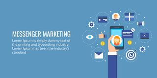 Messenger marketing - mobile marketing - sms advertising. Flat design marketing banner. Concept of digital media marketing, including mobile advertising,sending stock illustration