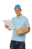 Messenger of messenger service delivers parcel Royalty Free Stock Photography