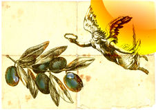 Messenger of peace. Angel as a messenger of peace with olive branch of tolerance. Hand drawing / and mixed media Royalty Free Stock Photography
