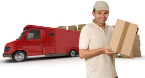 Messenger and red lorry Stock Photos