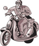 Messenger Riding Vintage Scooter Etching Royalty Free Stock Image
