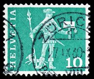 Messenger of Schwyz (15th century), Postal history motives and monuments serie, circa 1963. MOSCOW, RUSSIA - FEBRUARY 10, 2019: A stamp printed in Switzerland stock image