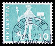 Messenger of Schwyz (15th century), Postal history motives and monuments serie, circa 1963. MOSCOW, RUSSIA - FEBRUARY 10, 2019: A stamp printed in Switzerland royalty free stock photography