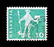 Messenger of Schwyz 15th century, Postal history motives and monuments serie, circa 1963 Stock Images