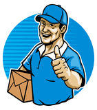 The messenger. Vector of the messenger bring the mail package and show his thumb up sign Royalty Free Stock Photography
