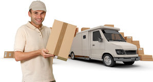 Messenger and white van Royalty Free Stock Photography