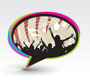 Messenger window icon. A crowd of party people vector with music concept with messenger window icon, vector illustration Royalty Free Stock Photos