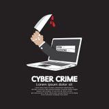 Messer in der Hand Cyber-Verbrechen-Konzept Lizenzfreie Stockbilder