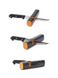 Messer in einem Bleistiftspitzer lokalisiert Lizenzfreies Stockfoto