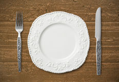 Messer, Gabel und Platte Lizenzfreies Stockbild