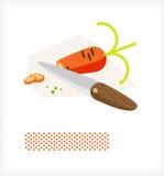 Messer schneidet Karotte A stock abbildung