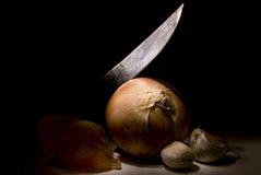 Messer schneidet Zwiebeln Stockfotos