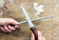 Messer und Bleistiftspitzer Stockfoto