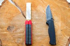 Messer und Bleistiftspitzer Lizenzfreie Stockbilder