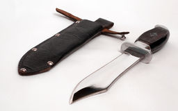 Messer- und Lederabdeckung Stockfotografie