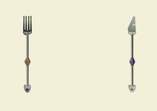 Messer und Volksaufmachungsspiralengriffe und Edelsteinsteine Lizenzfreies Stockbild