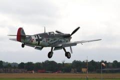 Messerschmitt BF-109 plane. A  Messerschmitt BF-109 airplane landing at an airfield Stock Photo