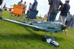 Messerschmitt Bf 109. PENZA OBLAST, RUSSIA - JULY 15, 2017: Radio control flying model of Messerschmitt Bf 109 aircraft. The Russian Aeromodelling Cup in Bolshoy Stock Photography