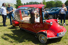 Messerschmitt KR200, or Kabinenroller (Cabin Scooter). The Messerschmitt KR200, or Kabinenroller (Cabin Scooter), was a three-wheeled bubble car designed by the Royalty Free Stock Photo