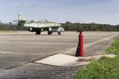 Messerschmitt Me-262 Schwalbe standing on runway Stock Image