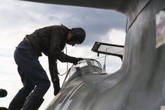 Messerschmitt Me-262 Schwalbe standing on runway Stock Photos