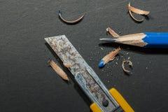 Messerschneider-Bleistiftspitzer - Archivbild Lizenzfreie Stockbilder